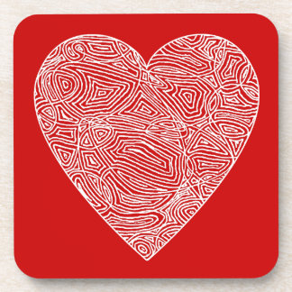 Red Scribble Heart Coaster