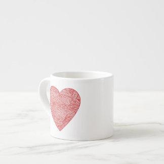 Red Scribble Heart Espresso Cup