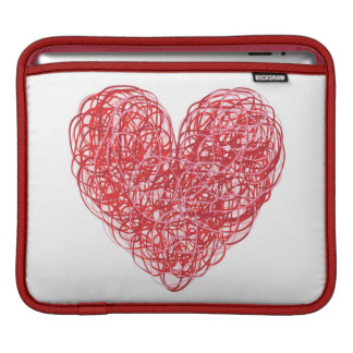 Red Scribble Heart iPad Sleeve