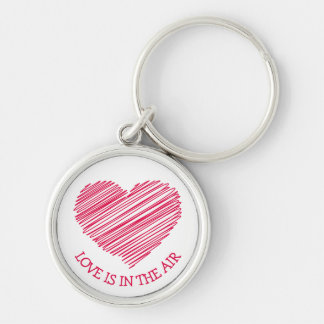 Red Scribble Heart Red Love Keychain