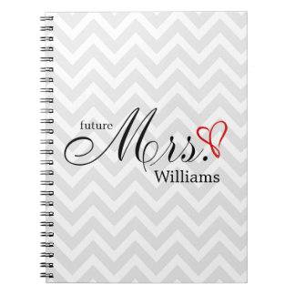 Red Scribbled Heart Future Mrs Wedding Planner Spiral Notebooks