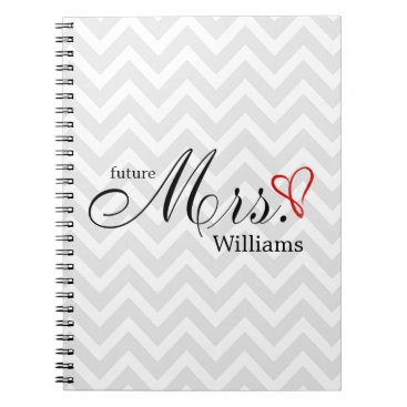 heartlocked Red Scribbled Heart Future Mrs Wedding Planner Notebook