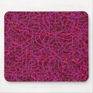 Red scribbled lines pattern mouse pad