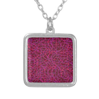 Red scribbled lines pattern silver plated necklace