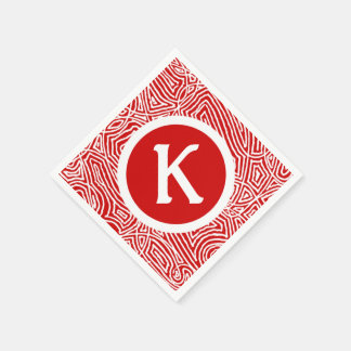 Red Scribbleprint Initial Paper Napkin