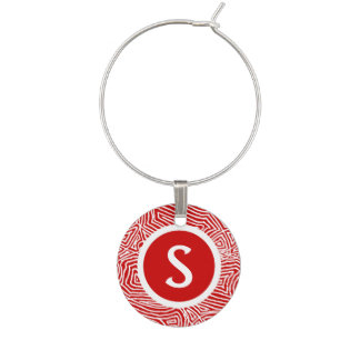 Red Scribbleprint Initial Wine Glass Charm