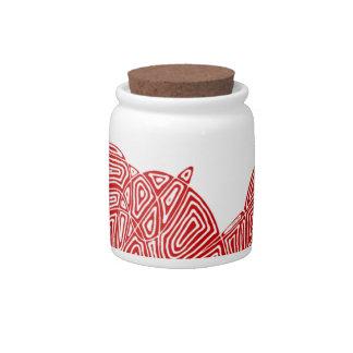 Red Scribbleprint Waves Candy Jar