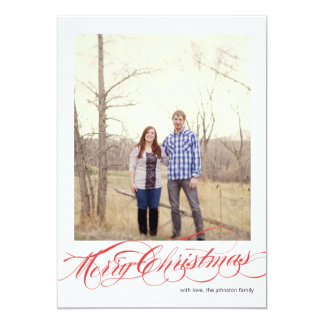 Red Script Christmas Photo Flat Cards