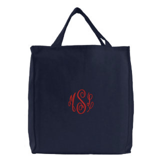 Red Script Embroidered Monogram Embroidered Tote Bag