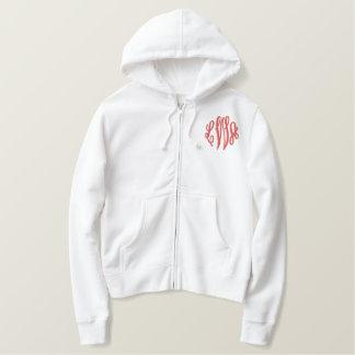 Red Script Embroidered Monogram Hoodie Jacket