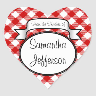 Red Script -From the Kitchen Of- Jar/Label Heart Sticker