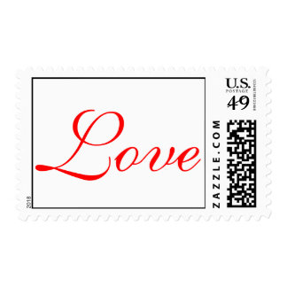 Red Script Love White Wedding Postage
