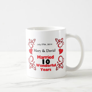 Red Scroll & Hearts Names & Date 10 Yr Anniversary Coffee Mug