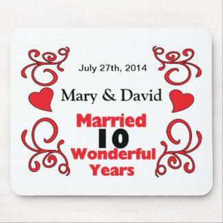 Red Scroll & Hearts Names & Date 10 Yr Anniversary Mouse Pad
