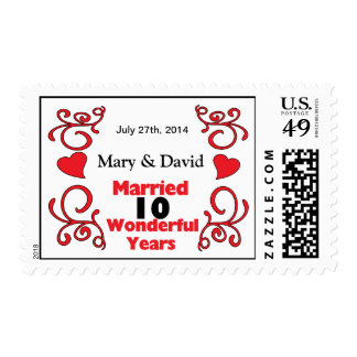 Red Scroll & Hearts Names & Date 10 Yr Anniversary Postage Stamp