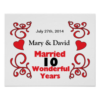 Red Scroll & Hearts Names & Date 10 Yr Anniversary Poster