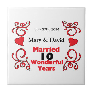 Red Scroll & Hearts Names & Date 10 Yr Anniversary Small Square Tile