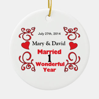 Red Scroll & Hearts Names & Date 1 Yr Anniversary Christmas Tree Ornaments