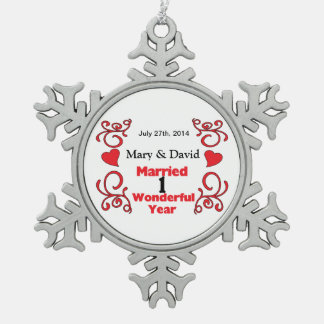 Red Scroll & Hearts Names & Date 1 Yr Anniversary Ornament