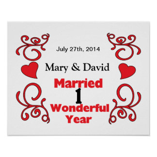 Red Scroll & Hearts Names & Date 1 Yr Anniversary Poster