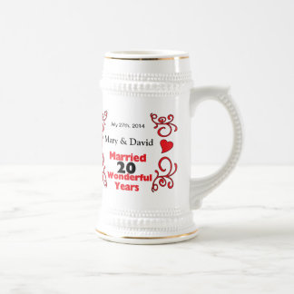 Red Scroll & Hearts Names & Date 20 Yr Anniversary Beer Stein