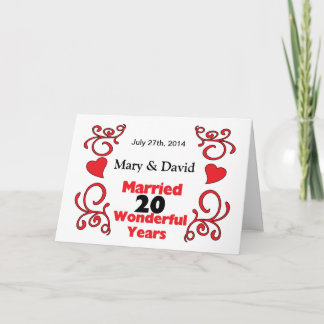 Red Scroll & Hearts Names & Date 20 Yr Anniversary Card