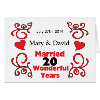 Red Scroll Hearts Names Date 20 Yr Anniversary Card