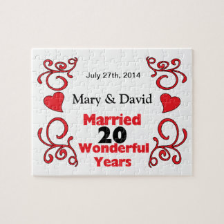 Red Scroll & Hearts Names & Date 20 Yr Anniversary Jigsaw Puzzle
