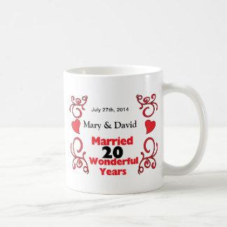 Red Scroll & Hearts Names & Date 20 Yr Anniversary Classic White Coffee Mug