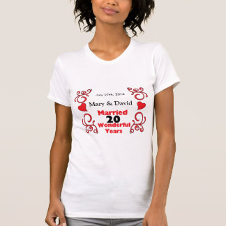 Red Scroll & Hearts Names & Date 20 Yr Anniversary T-shirt