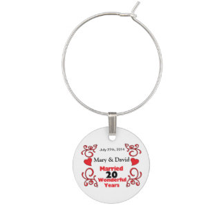 Red Scroll & Hearts Names & Date 20 Yr Anniversary Wine Charms