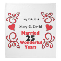 Red Scroll & Hearts Names & Date 25 Yr Anniversary Bandana