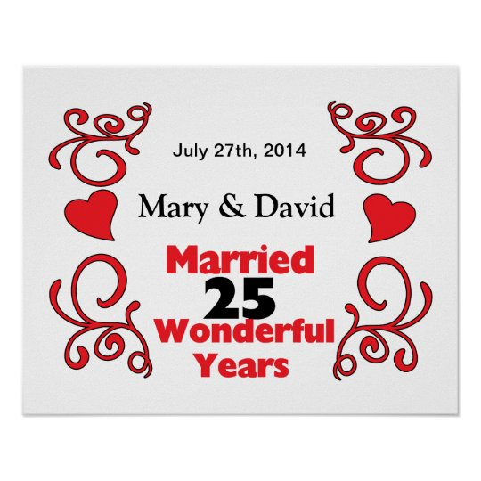 red scroll hearts names date 25 yr anniversary poster zazzle com