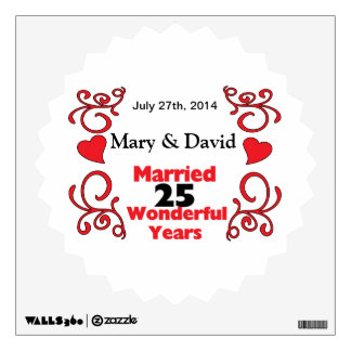 Red Scroll & Hearts Names & Date 25 Yr Anniversary Wall Sticker