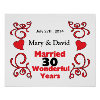 Red Scroll & Hearts Names & Date 30 Yr Anniversary Poster