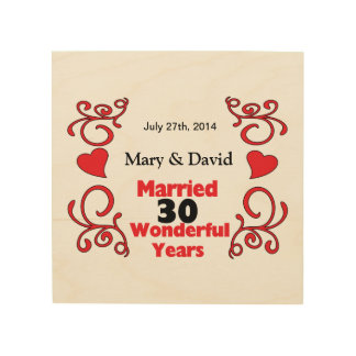 Red Scroll & Hearts Names & Date 30 Yr Anniversary Wood Print