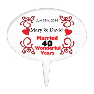 Red Scroll & Hearts Names & Date 40 Yr Anniversary Cake Topper