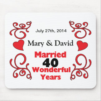 Red Scroll & Hearts Names & Date 40 Yr Anniversary Mouse Pad