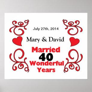 40 year wedding anniversary posters photo prints zazzle