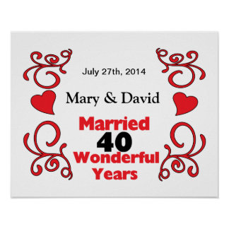 Red Scroll & Hearts Names & Date 40 Yr Anniversary Poster