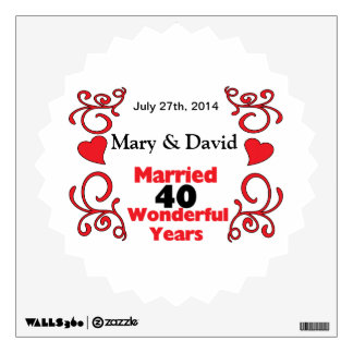 Red Scroll & Hearts Names & Date 40 Yr Anniversary Wall Sticker