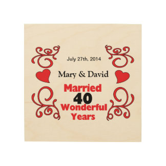 Red Scroll & Hearts Names & Date 40 Yr Anniversary Wood Wall Art