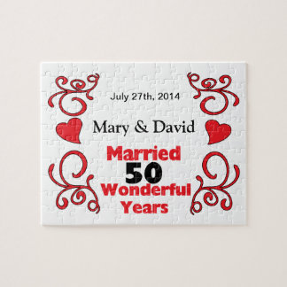 Red Scroll & Hearts Names & Date 50 Yr Anniversary Jigsaw Puzzle