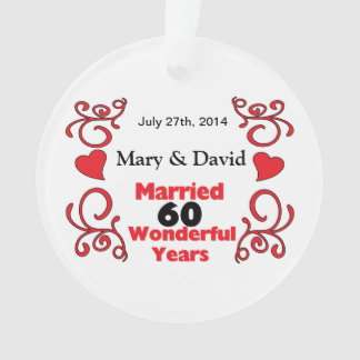 Red Scroll Hearts Names Date 60 Yr Anniversary