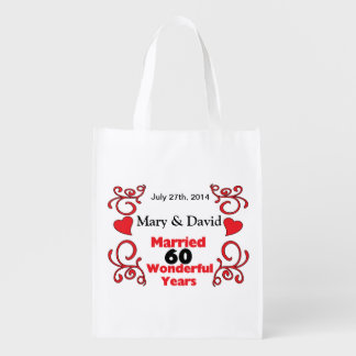 Red Scroll & Hearts Names & Date 60 Yr Anniversary Reusable Grocery Bags