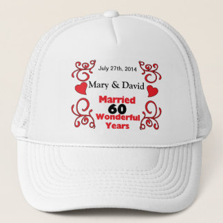 Red Scroll & Hearts Names & Date 60 Yr Anniversary Trucker Hat
