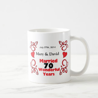 Red Scroll & Hearts Names & Date 70 Yr Anniversary Coffee Mugs