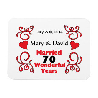Red Scroll & Hearts Names & Date 70 Yr Anniversary Rectangular Photo Magnet