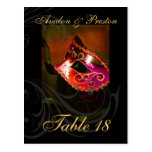Red Scroll Masquerade Table Placecard Post Card