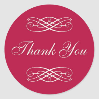 Red Scroll Thank You Round Sticker
